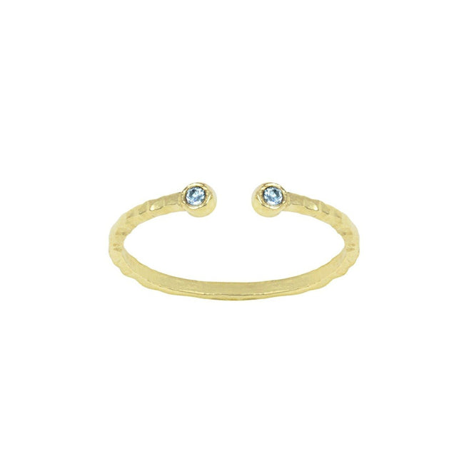 Birthstone Ring, March Aquamarine, Handmade by Katie Dean Jewelry in California. Perfect for ring stacking.