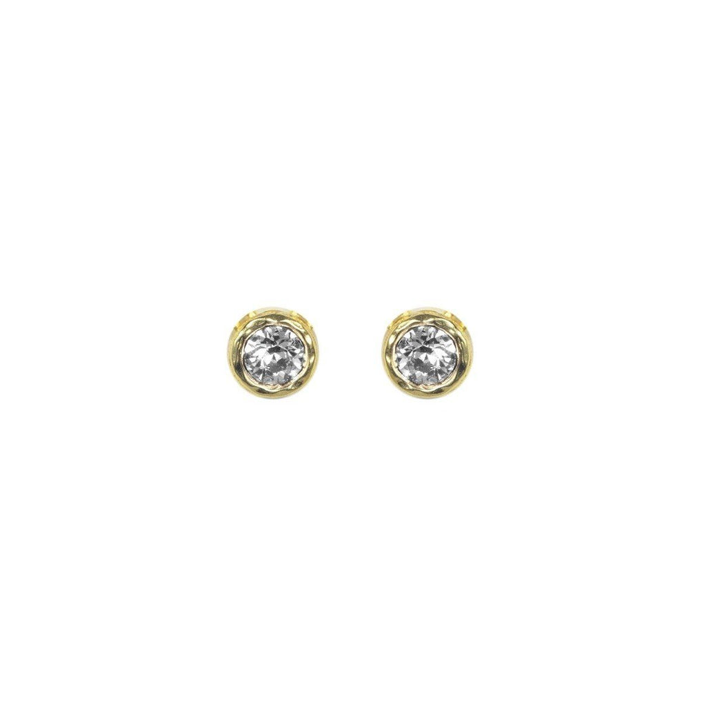 Dainty Birthstone Stud Earrings, April Crystal, handmade in California by Katie Dean Jewelry. Nickel Free and hypoallergenic.