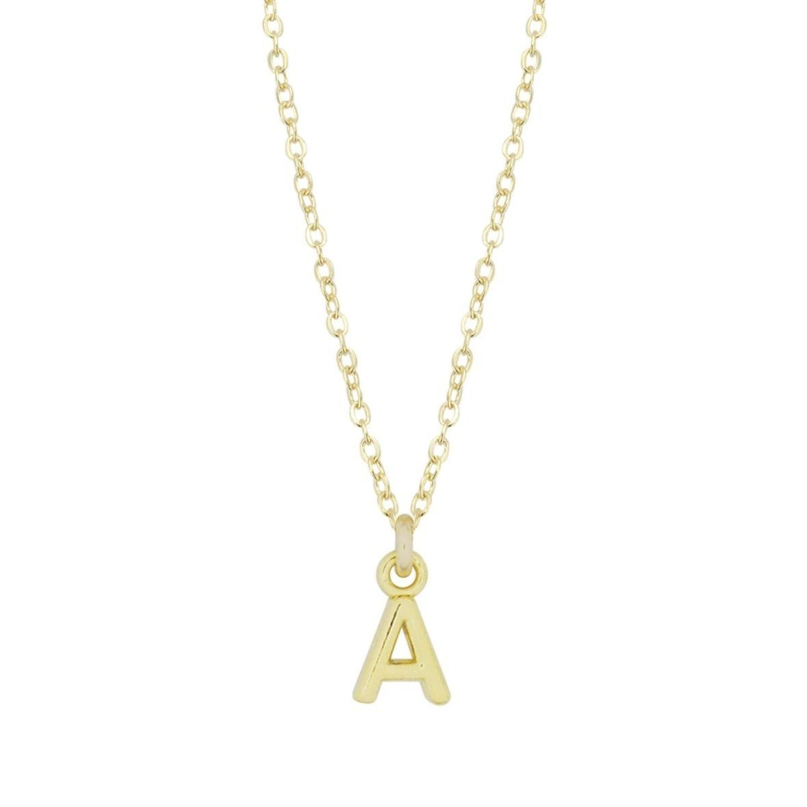 Up close image of the gold Initial Necklace with an 'A' pendant.