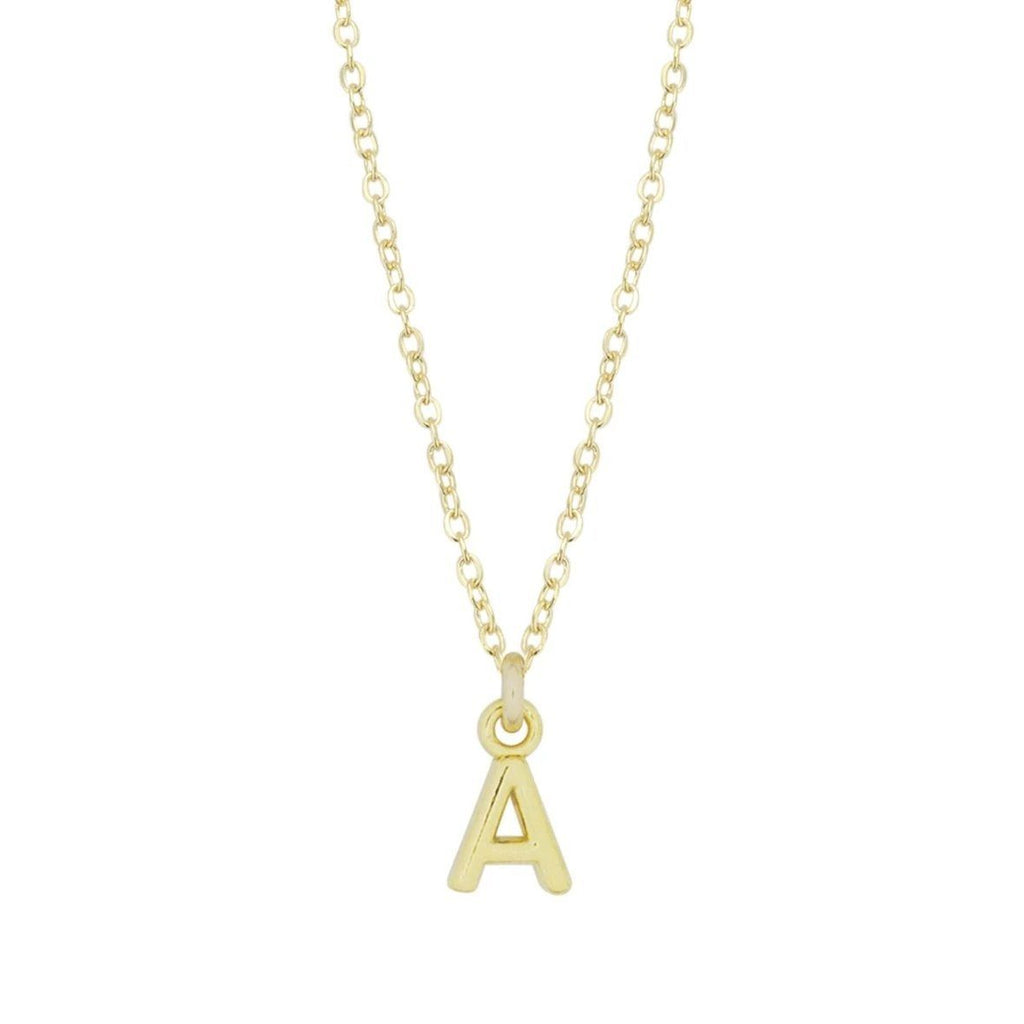 Dainty gold Initial A Necklace shown on a white background, made by Katie Dean Jewelry.