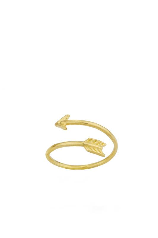 Up close image of the gold adjustable Wrap Arrow Ring.
