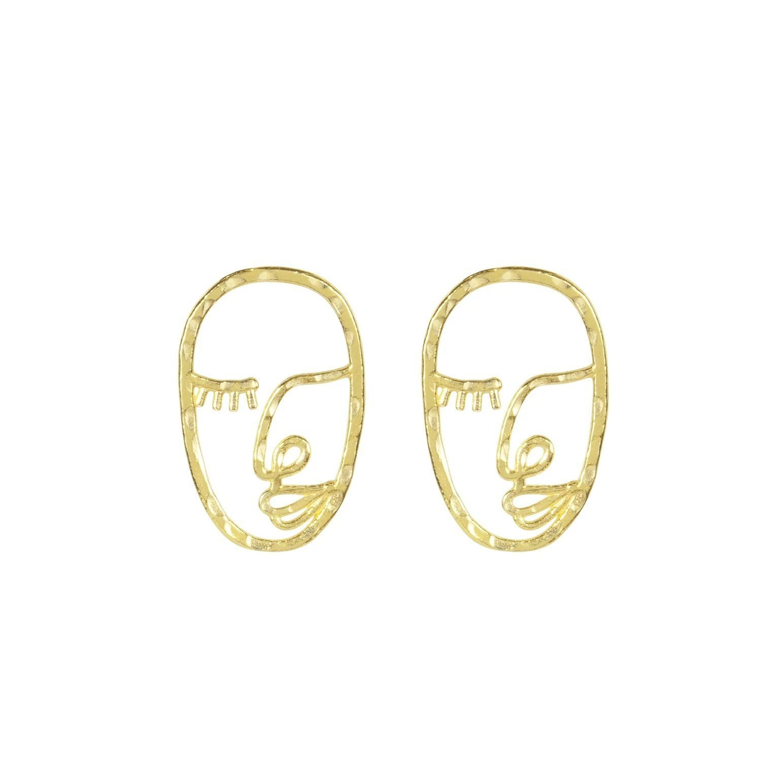 The Artist Face Earring inspired by Matisse and Picasso. Handmade in California by Katie Dean Jewelry.