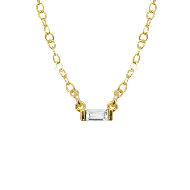 Baguette necklace chain with one crystal against white background.