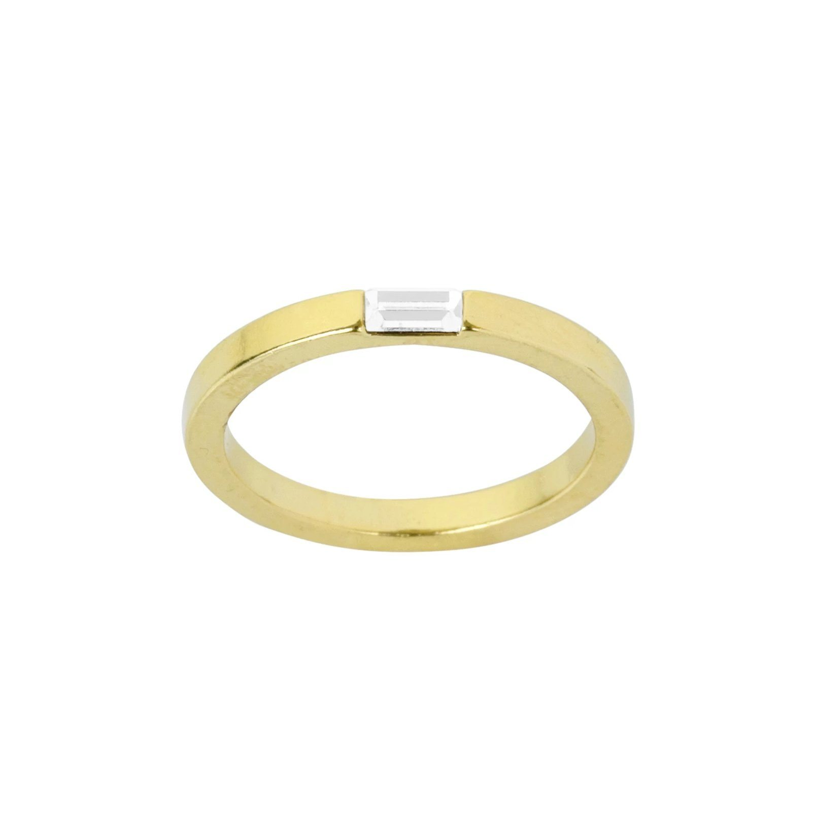 Up close image of Baguette ring against white background.