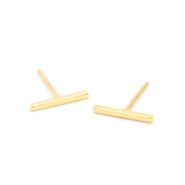 The Bar Studs. Made for the minimalist. Handmade in California by Katie Dean Jewelry. Nickel free and hypoallergenic.