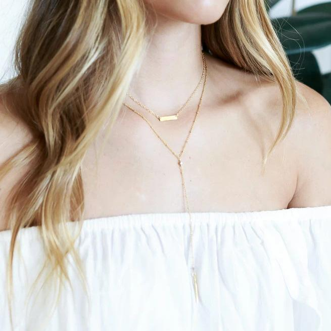 Image of Katie Dean model wearing the Guinevere Lariat necklace.