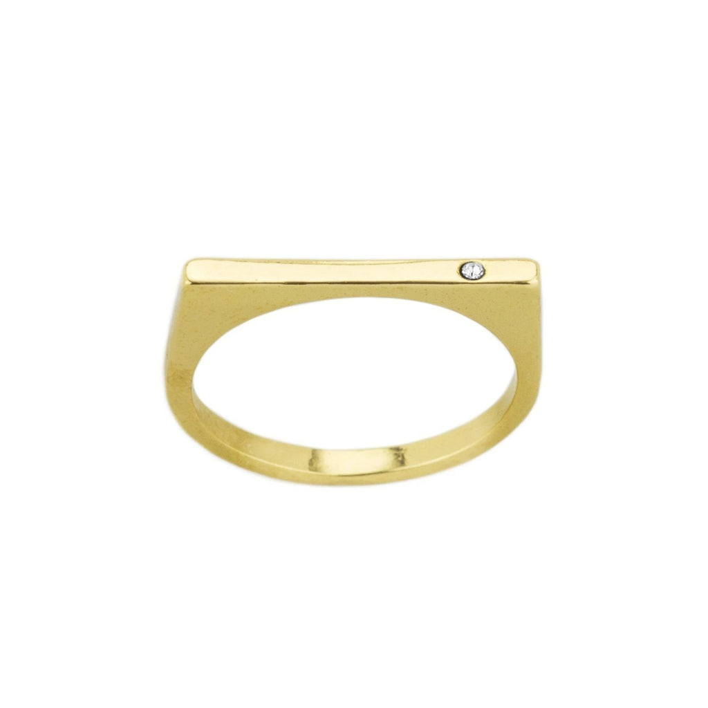 The Bar with Gem Ring. Made for the minimalist. Handmade in California by Katie Dean Jewelry.