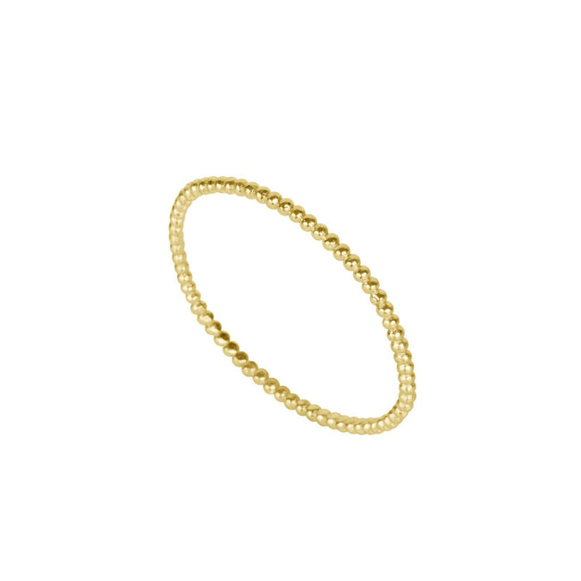 Up close image of the gold Beaded Ring against white background.