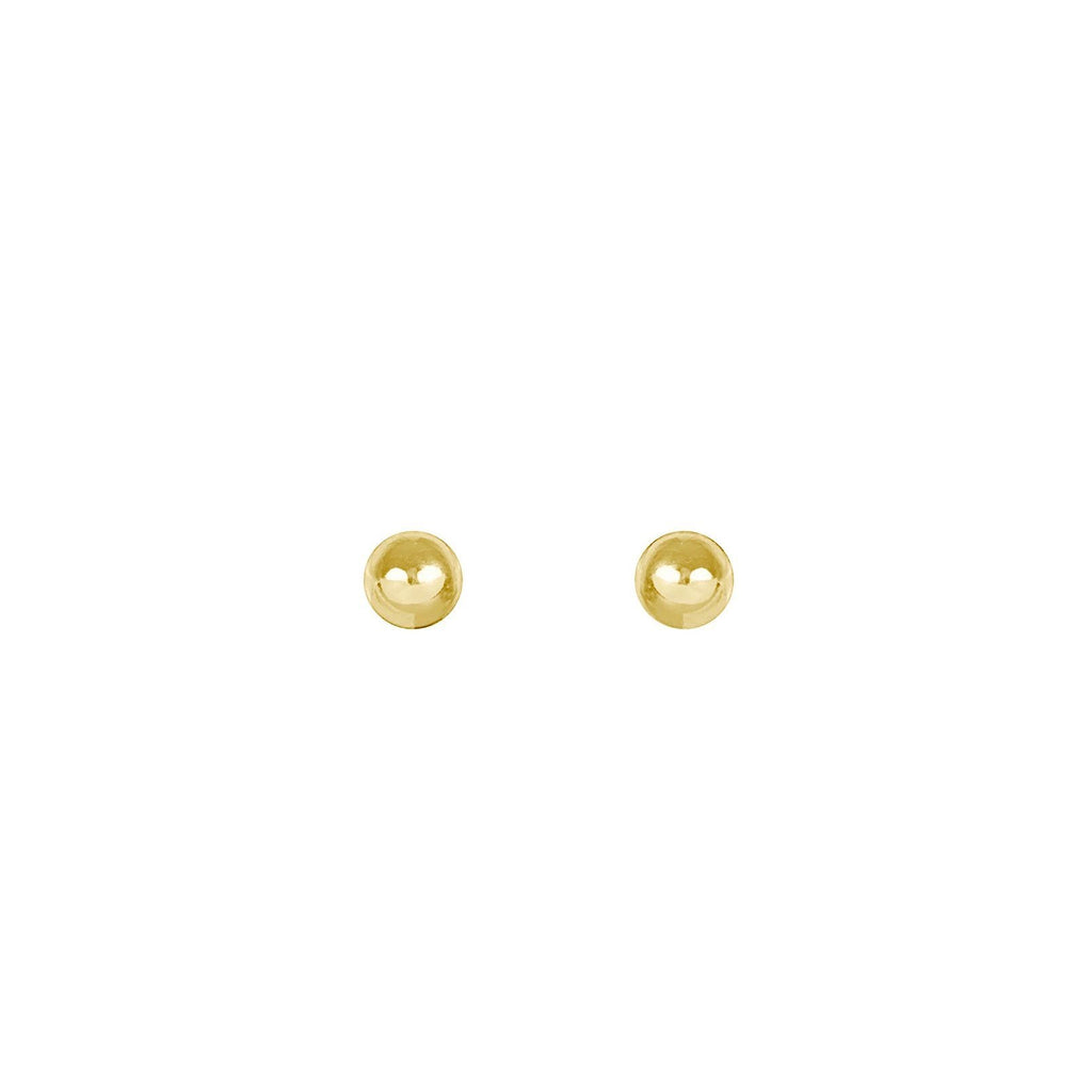 Up close image of gold Beaded Studs against a white background.