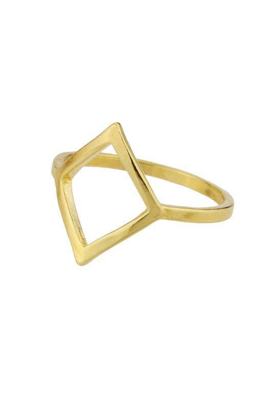 Up close image of gold Big Diamond Ring tilted against white background.