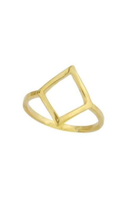 Up close image of gold Big Diamond Ring against white background.