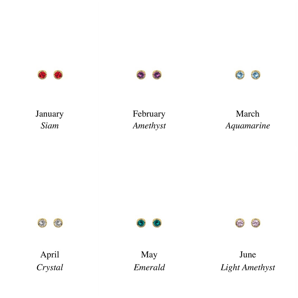 Dainty Birthstone Stud Earrings, January, February, March, April, May, June, handmade in California by Katie Dean Jewelry. Nickel Free and hypoallergenic.