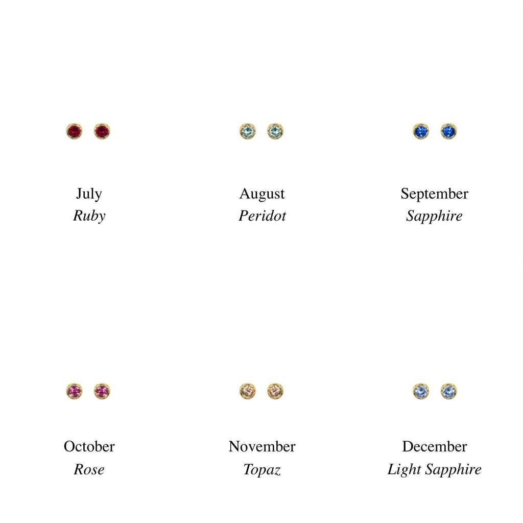 Dainty Birthstone Stud Earrings, July, August, September, October, November, December, handmade in California by Katie Dean Jewelry. Nickel Free and hypoallergenic.