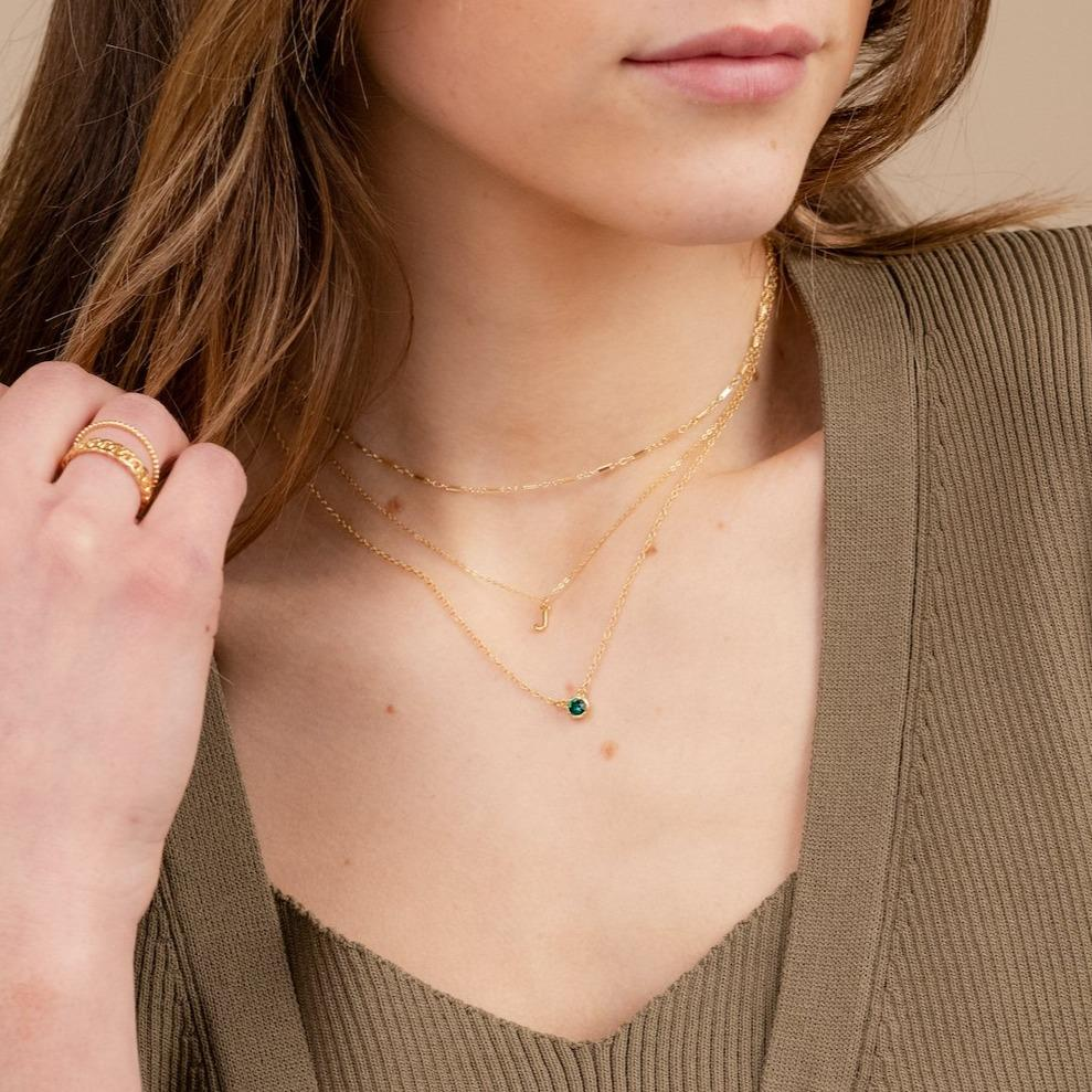 Birthstone Necklace layered with Initial Necklace and Linked Choker Necklace handmade in America by Katie Dean Jewelry