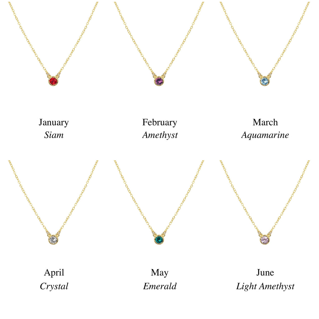 Birthstone Necklace Chart, January, February, March, April, May and June. Handmade by Katie Dean Jewelry in California. Perfect for ring stacking.