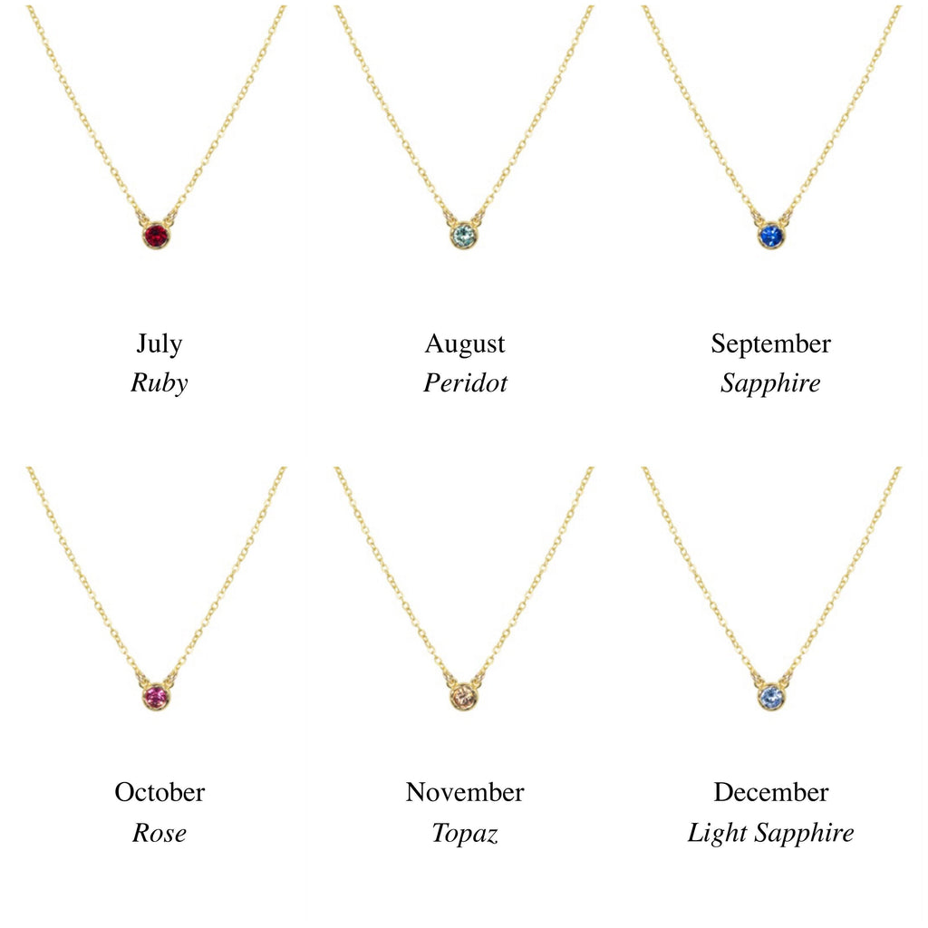 Birthstone Necklace Chart, July, August, September, October, November, December. Handmade by Katie Dean Jewelry in California. Perfect for ring stacking.