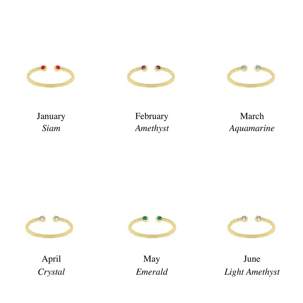 Birthstone Ring Chart, January, February, March, April, May, June. Handmade by Katie Dean Jewelry in California. Perfect for ring stacking.