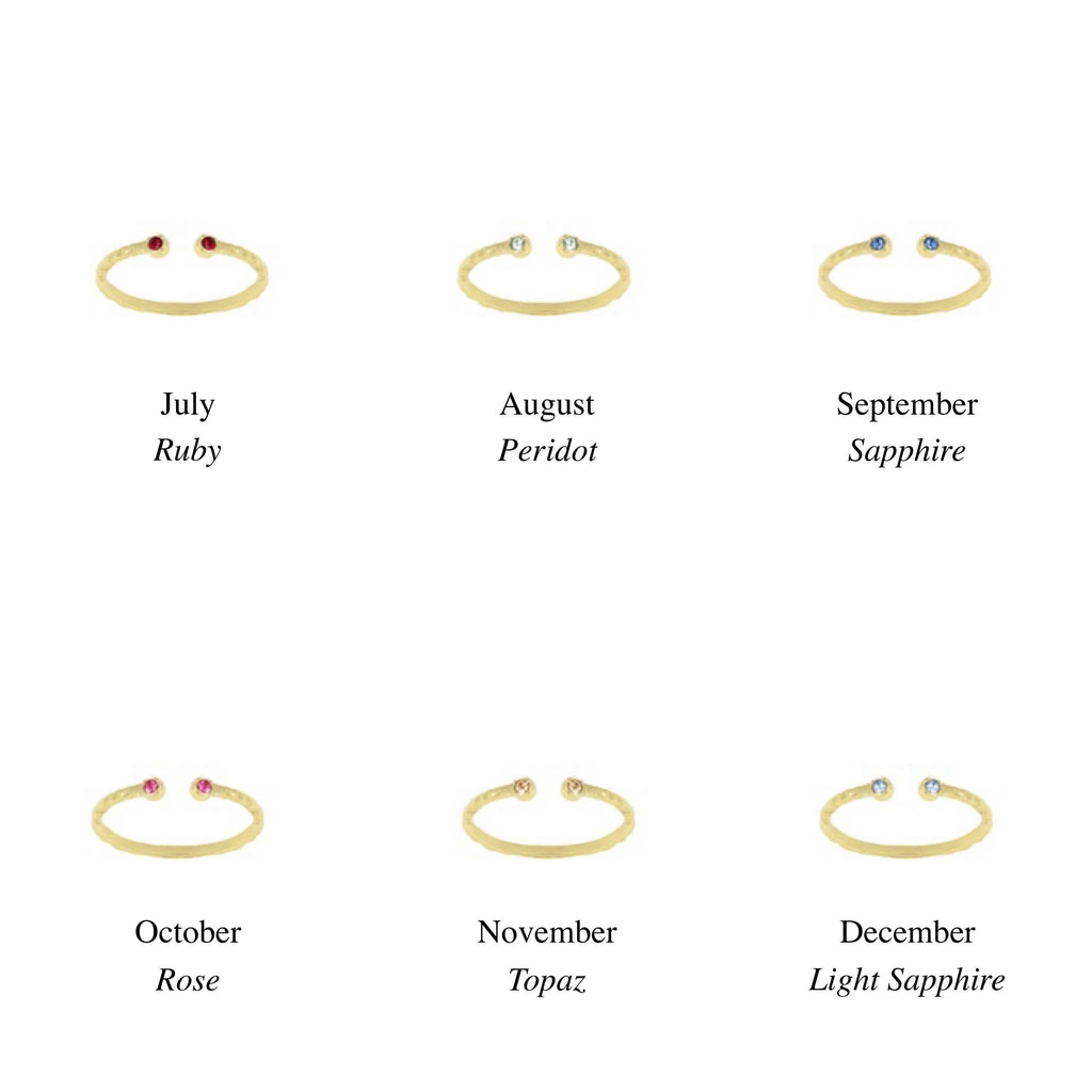 Birthstone Ring Chart, July, August, September, October, November, December. Handmade by Katie Dean Jewelry in California. Perfect for ring stacking.