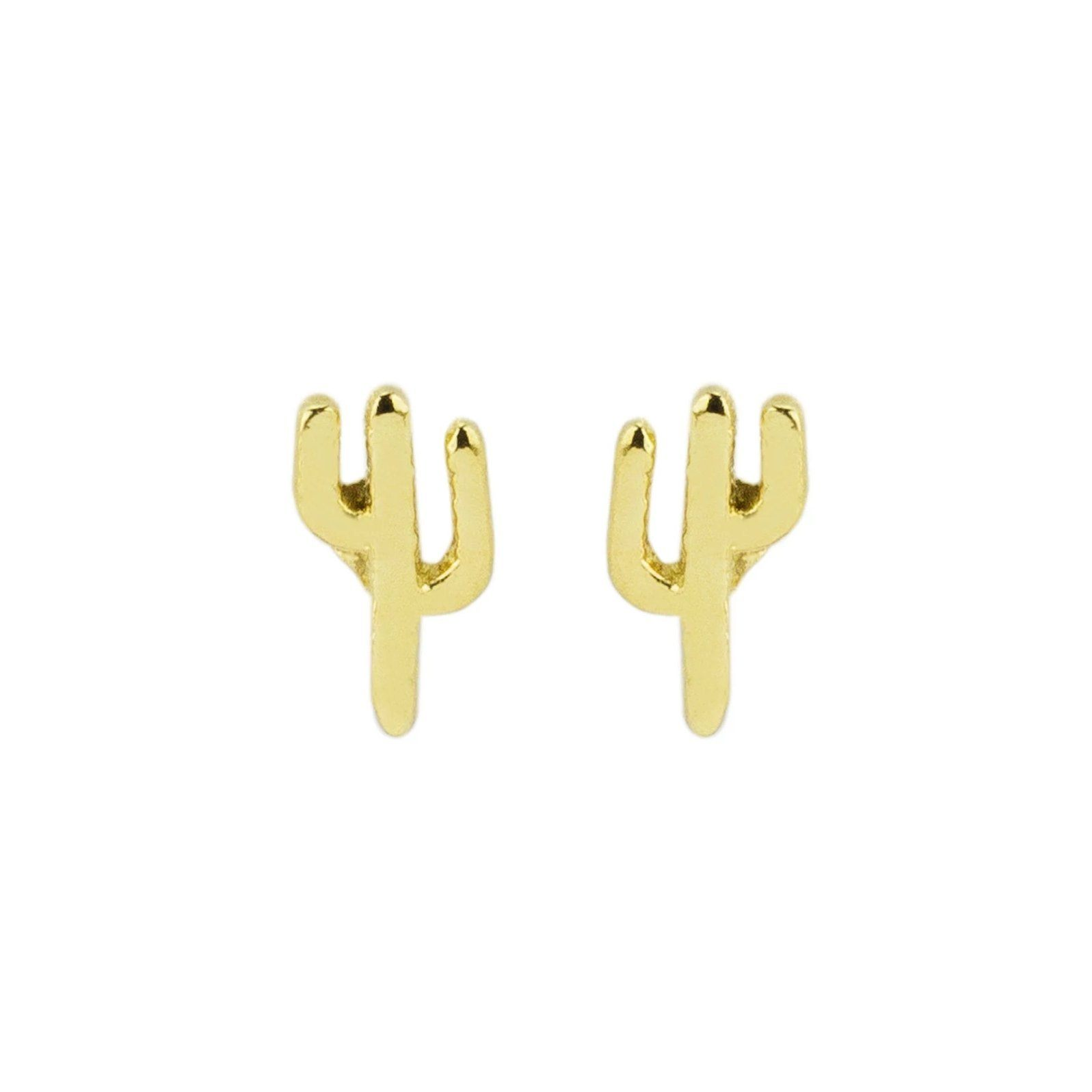 Up close image of a pair of gold Cactus Studs against a white background.