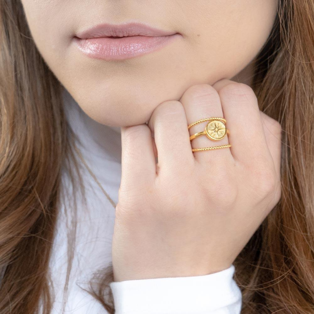 The Celestial Ring Stack. Bringing the star power to your everyday. Handmade in California by Katie Dean Jewelry.