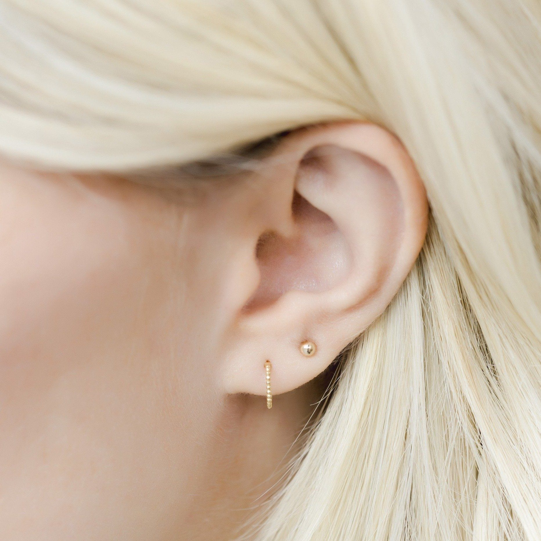 The Beaded Hoop Studs and Beaded Studs are a beautiful, classic set of earrings that you'll never want to take off. Handmade in California by Katie Dean Jewelry. Nickel free and hypoallergenic.