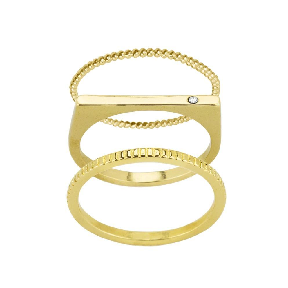 The gold Classic Stack featuring a Beaded Ring on top, a Bar with Gem Ring in the middle & a Coin Ring on the bottom.