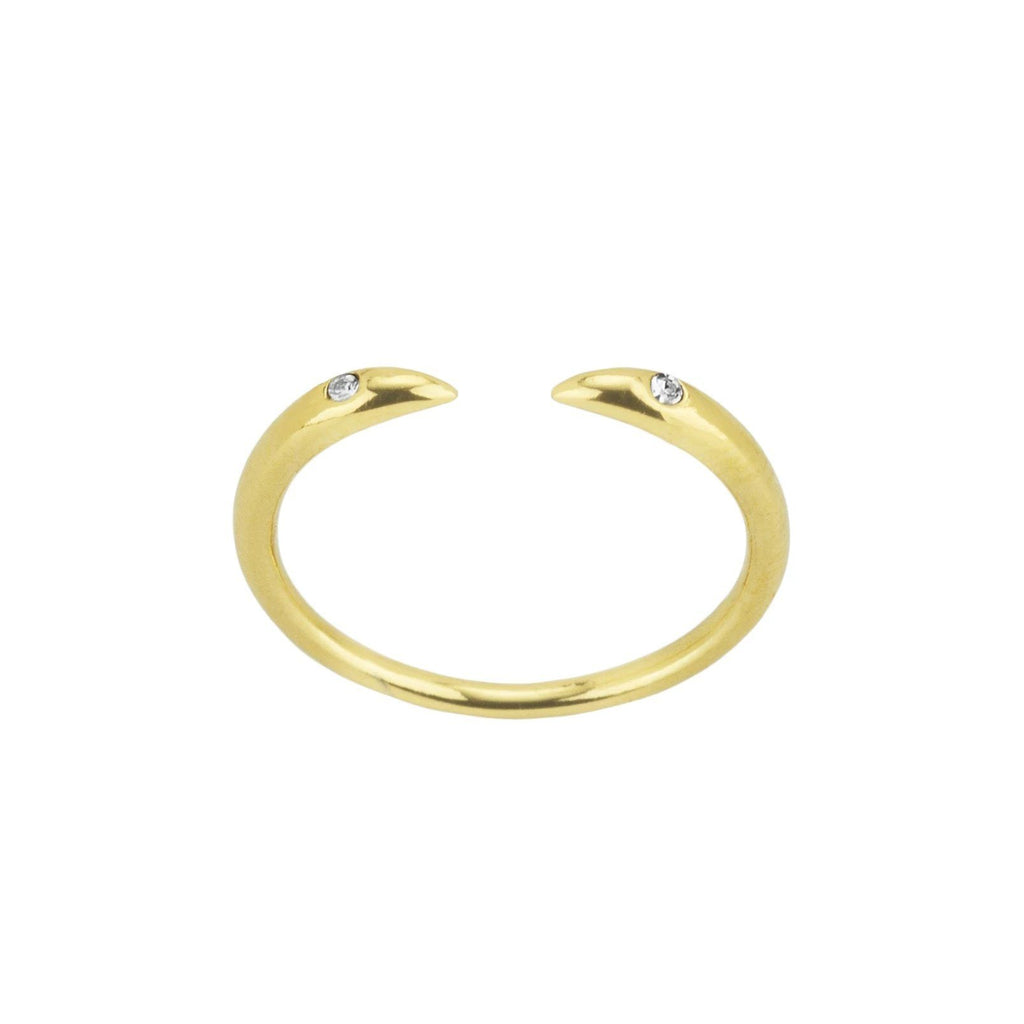 Up close image of the gold Claw Ring with two crystals against a white background.