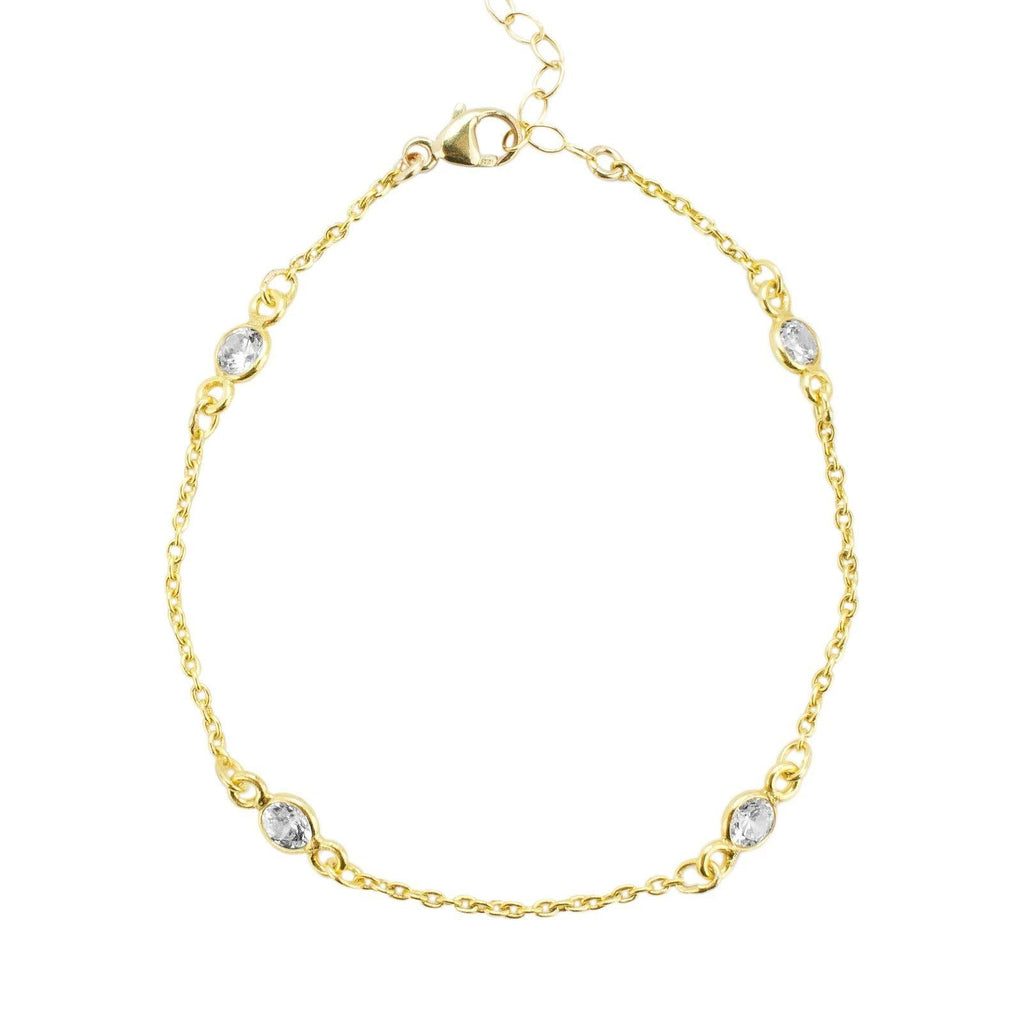 The Crystal Chain Bracelet is perfect for the woman who wants a classic sparkle layered in with their look.