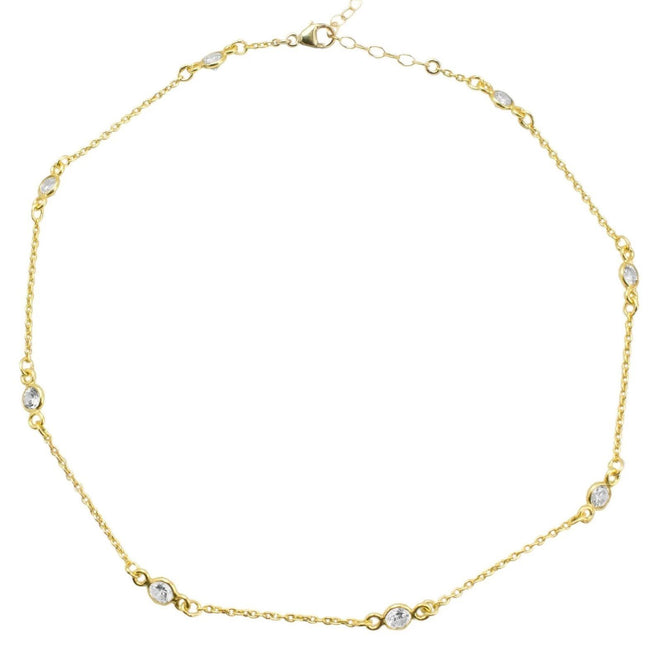 The Crystal Chain Choker Necklace is perfect for the woman who wants a classic sparkle layered in with their look.