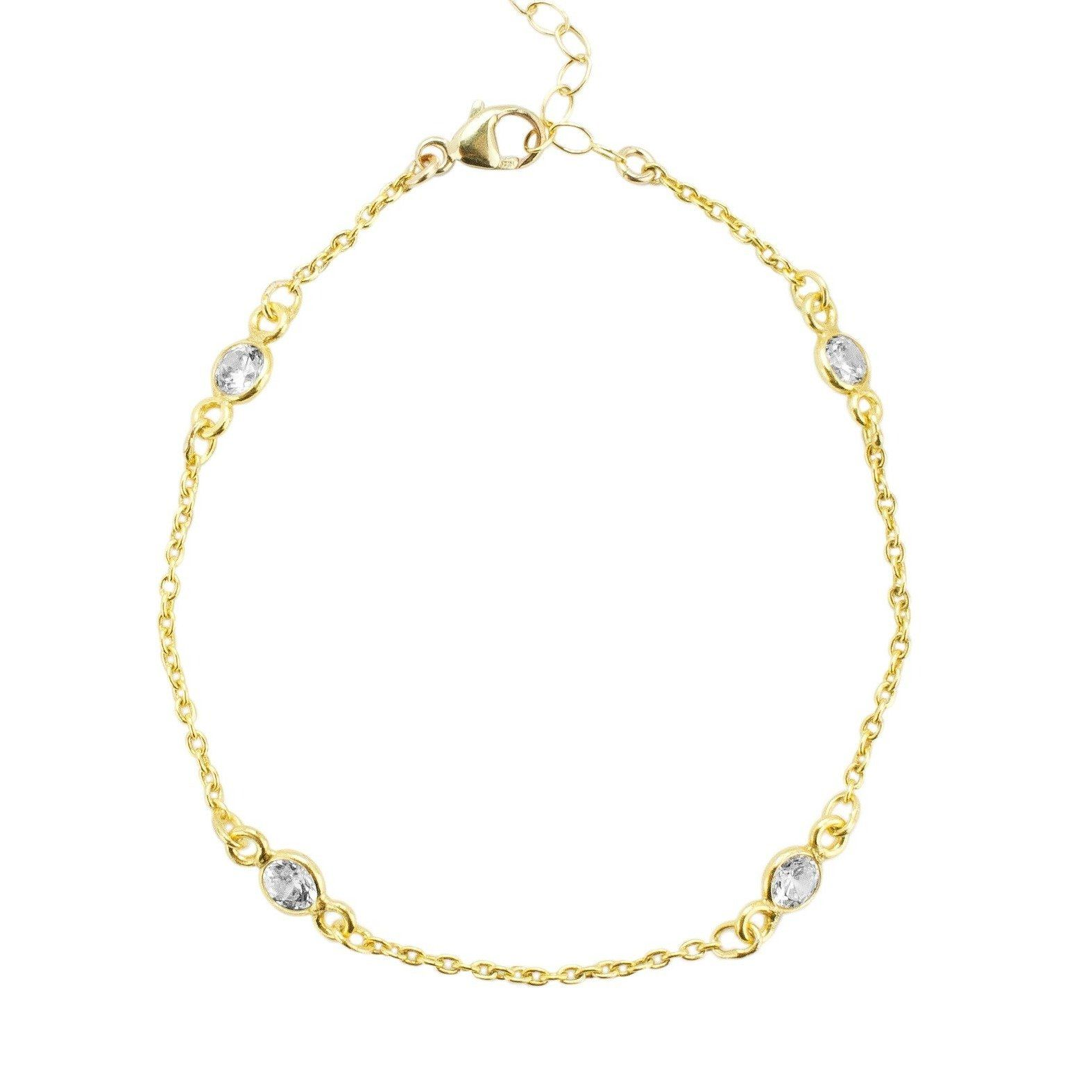 Crystal Chain Bracelet by Katie Dean Jewelry shown against a white background.