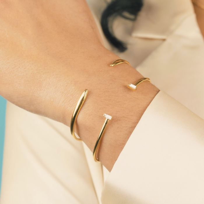 Cuff Bracelet Set shown on a model wearing the Claw Cuff and Baguette Cuff, handmade in California by Katie Dean Jewelry