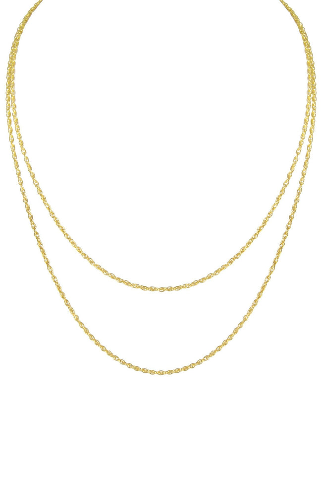 Up close image of the gold Duo Layer Necklace featuring two chains against a white background.