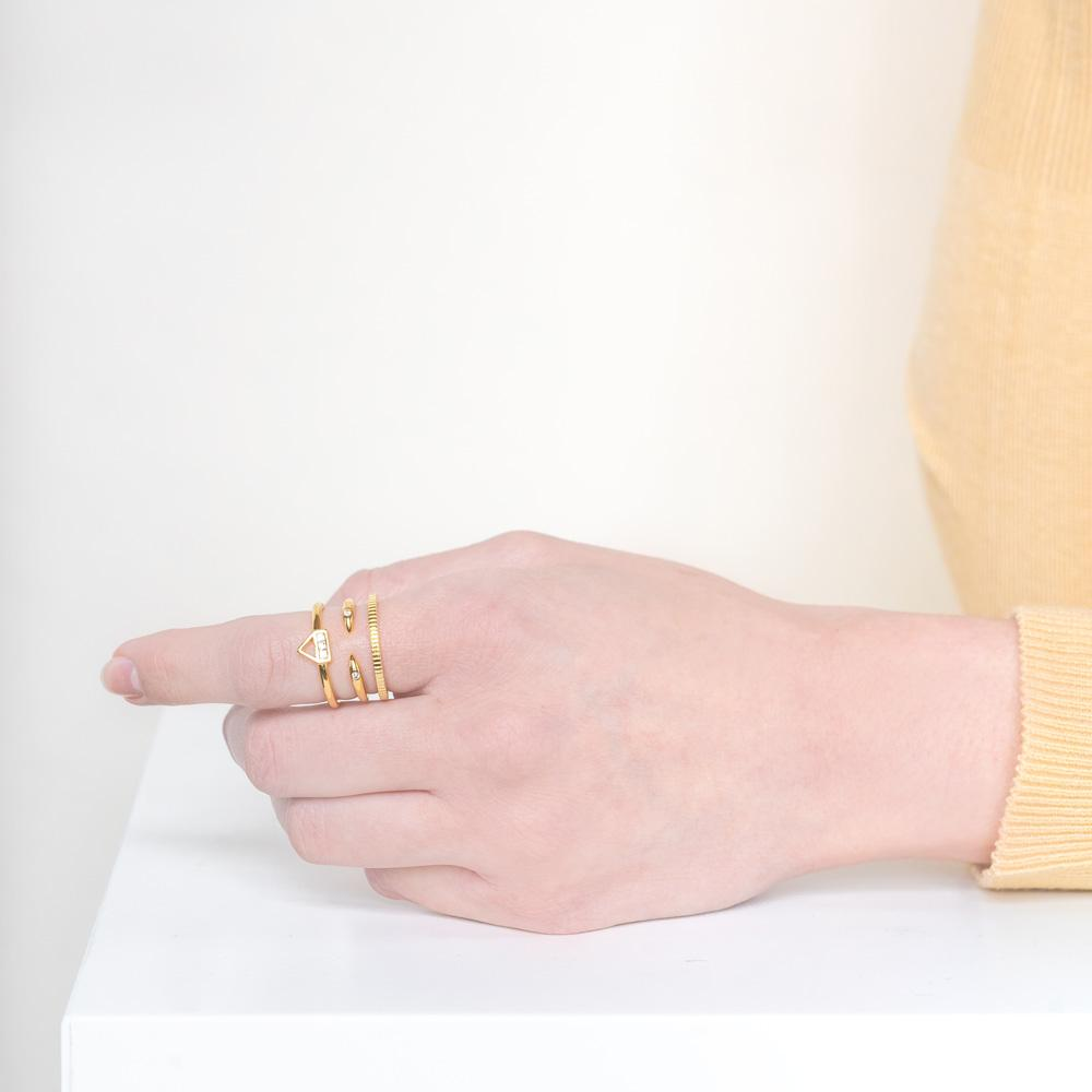 Image of models hand wearing the gold Essential Stack against a white background.