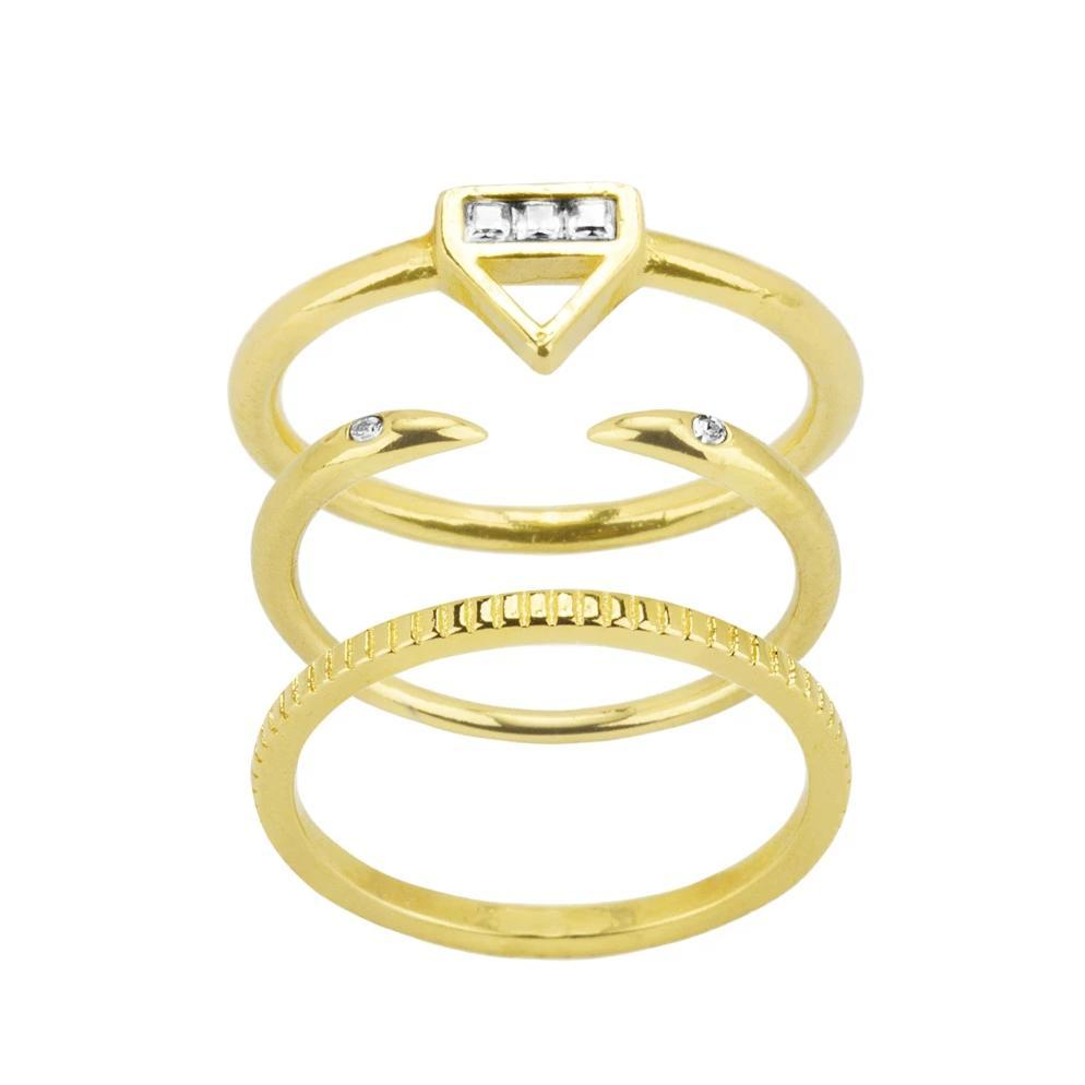 Up close image of the gold Essential Stack with the Love Triangle Ring on top, the Claw Ring in the middle & the Coin Ring on the bottom.