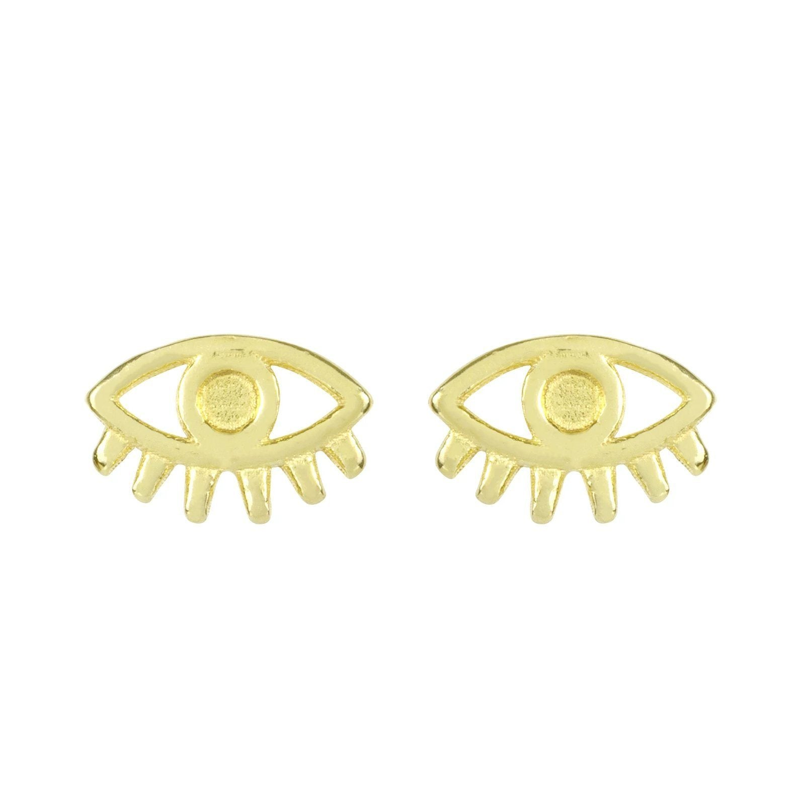Up close image of the gold Evil Eye Studs against a white background.