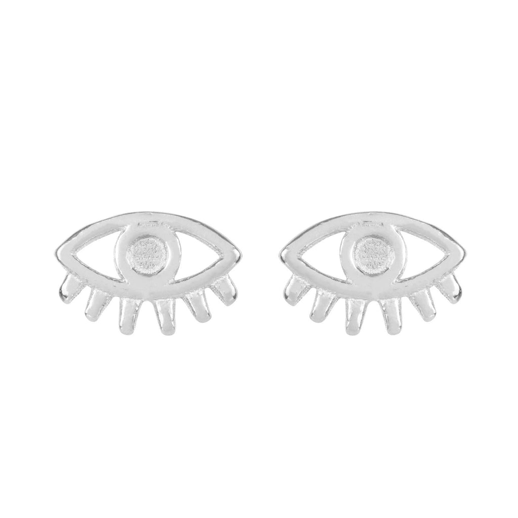 Up close image of silver Evil Eye Studs against a white background.