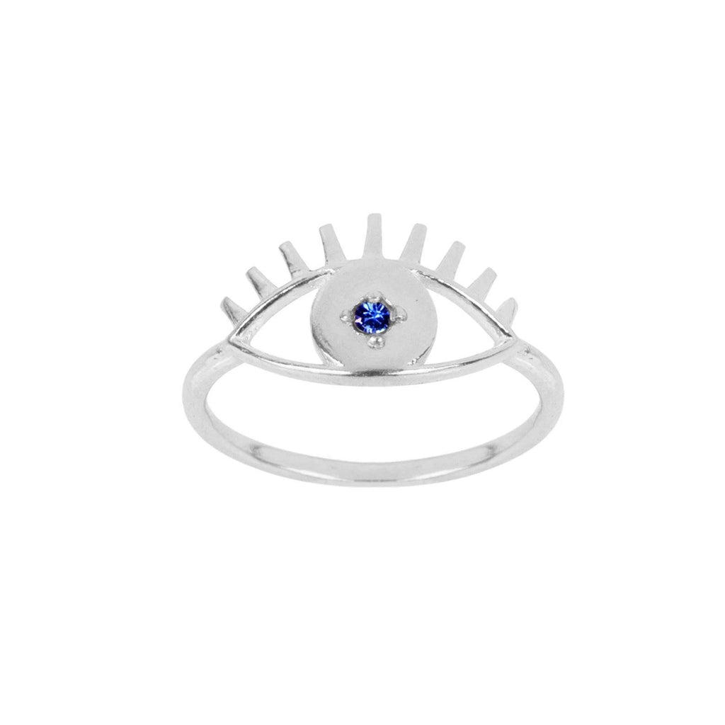 Up close image of the silver Evil Eye Ring with a blue stone. Handmade in California by Katie Dean Jewelry.