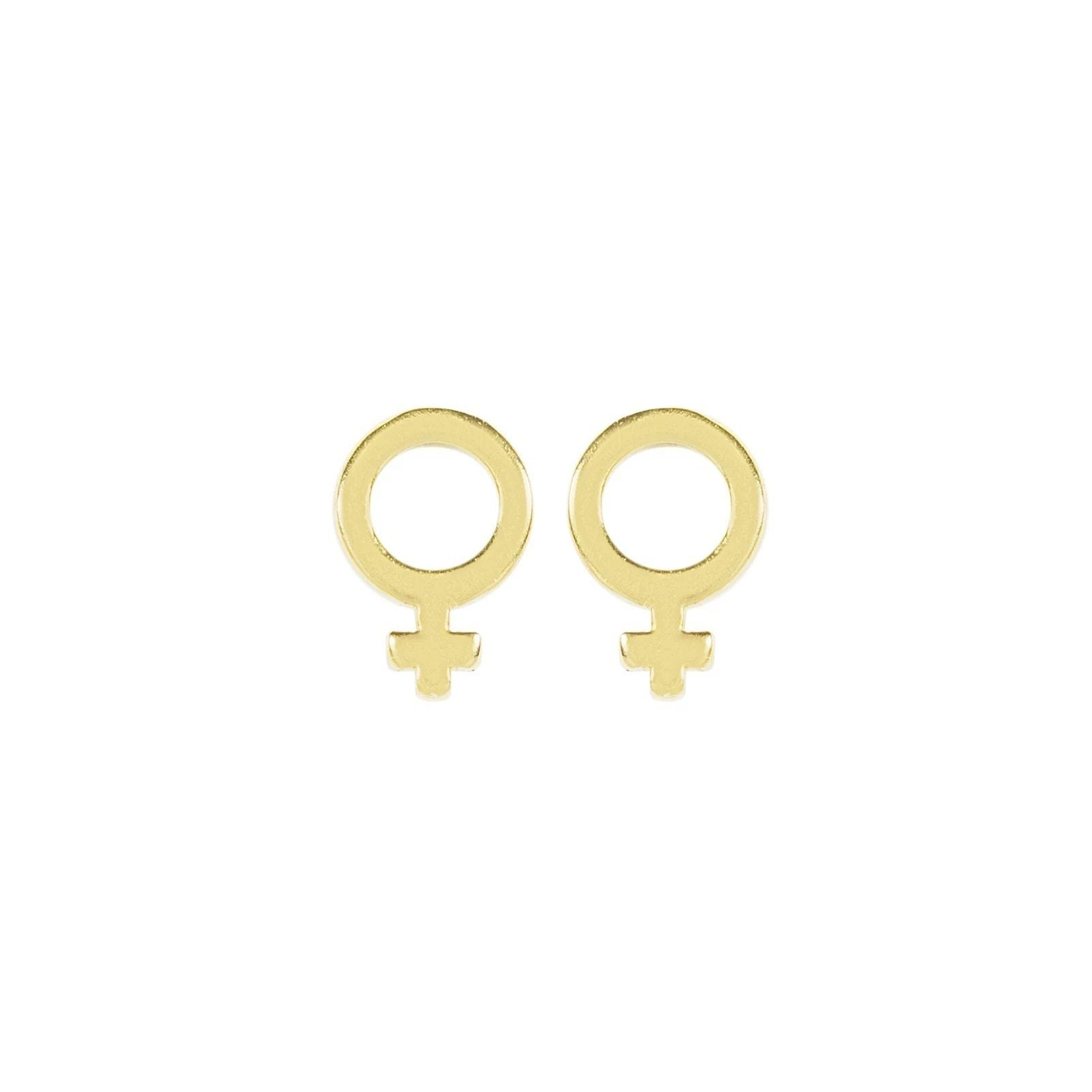 Up close image of the gold Female Symbol Studs against a white background.