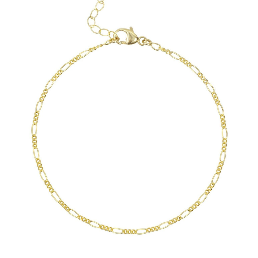 Dainty Figaro Chain Anklet, gold filled and made by Katie Dean Jewelry in California.
