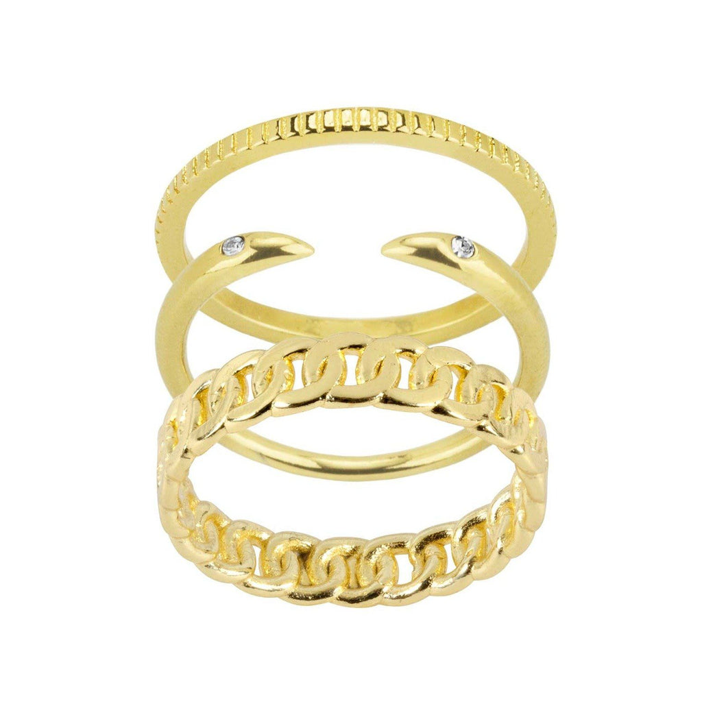 Figaro Ring Stack comes with one coin ring, one claw ring and one figaro chain ring, handmade by Katie Dean Jewelry
