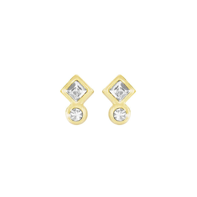 Up close image of the gold Geo Mini Studs with two crystals.
