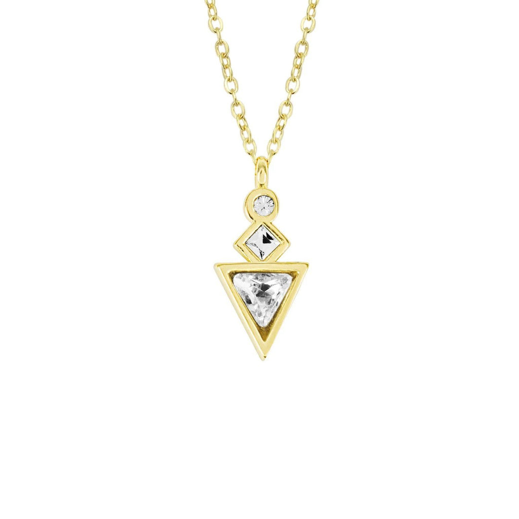 Up close image of the gold Geometric Necklace with three crystals.