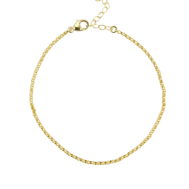 Up close image of the Gold Rolo Bracelet against a white background.