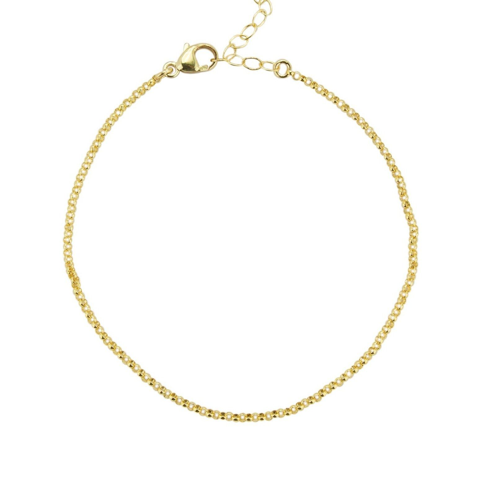 Gold Rolo Chain Bracelet against a white background.