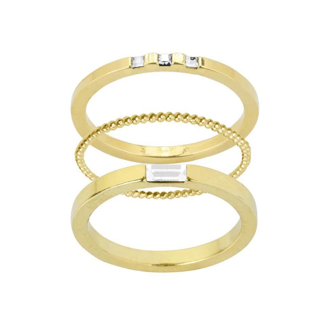 Classic, golden, timeless. We love the Golden Ring Stack stack for it's dainty sparkle. This stack includes: Baguette Ring, Beaded Ring, Three Gem Ring