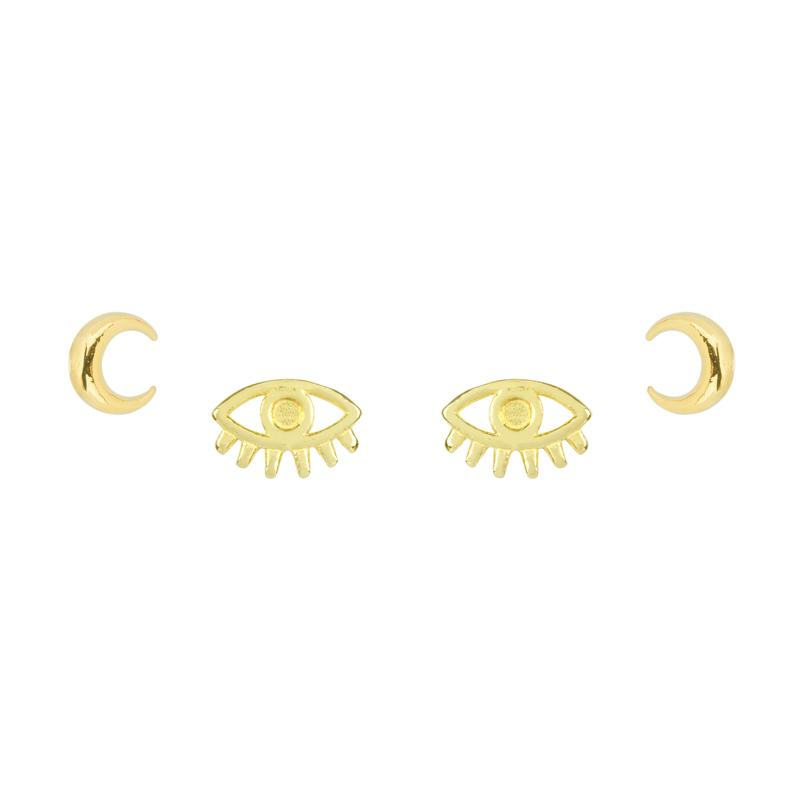 Good vibes all around with this Moon and Evil Eye Earring Set. Give the gift of good luck and fortune to yourself or to that special someone.  Handmade in California by Katie Dean Jewelry. Nickel free and hypoallergenic.
