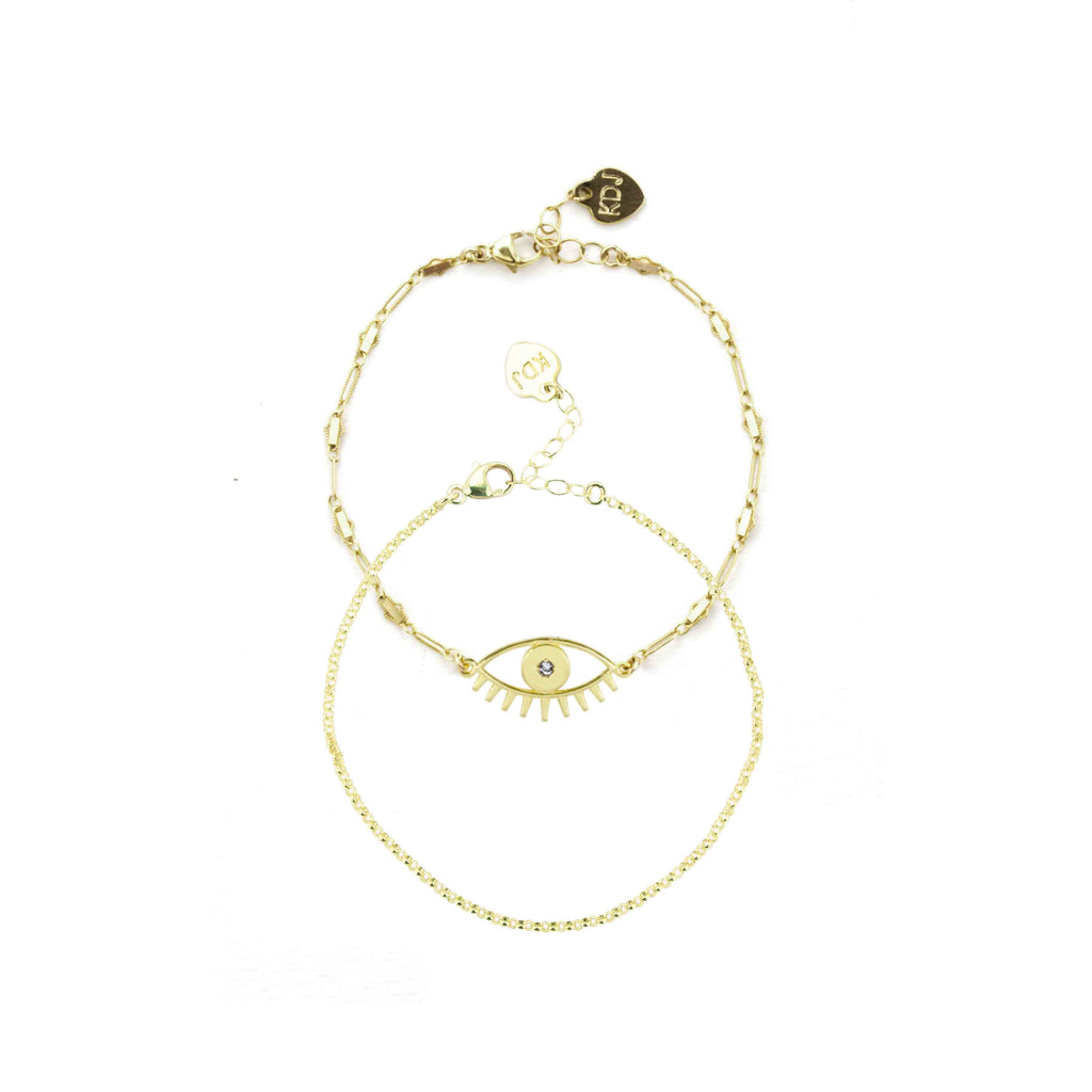 Gold Evil Eye Bracelet and chain bracelet shown against a white background, handmade in California by Katie Dean Jewelry.