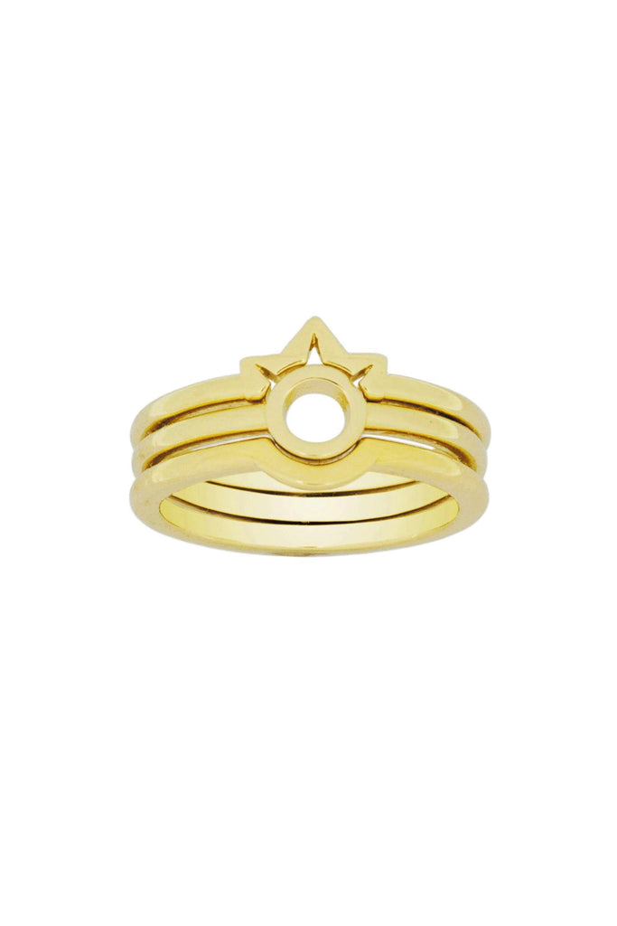 Up close image of the gold Sphere Ring stacked with other KDJ rings.