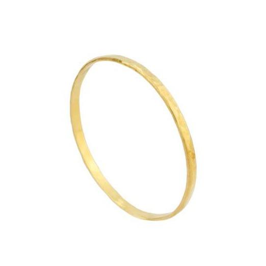 Up close image of the gold Hammered Bangle against a white background.