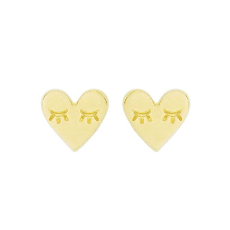 Up close image of the gold Heart Studs against a white background.